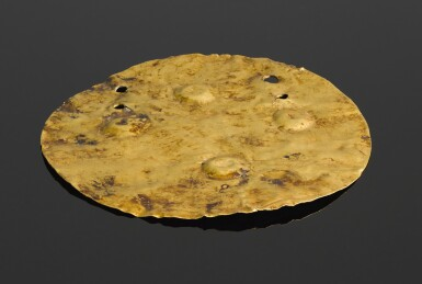 A GOLD DISC, LATE NEOLITHIC/ ENEOLITHIC/ EARLY COPPER AGE, BALATON-LASINJA-CULTURE (PERIOD I), 4200-4000 B.C.