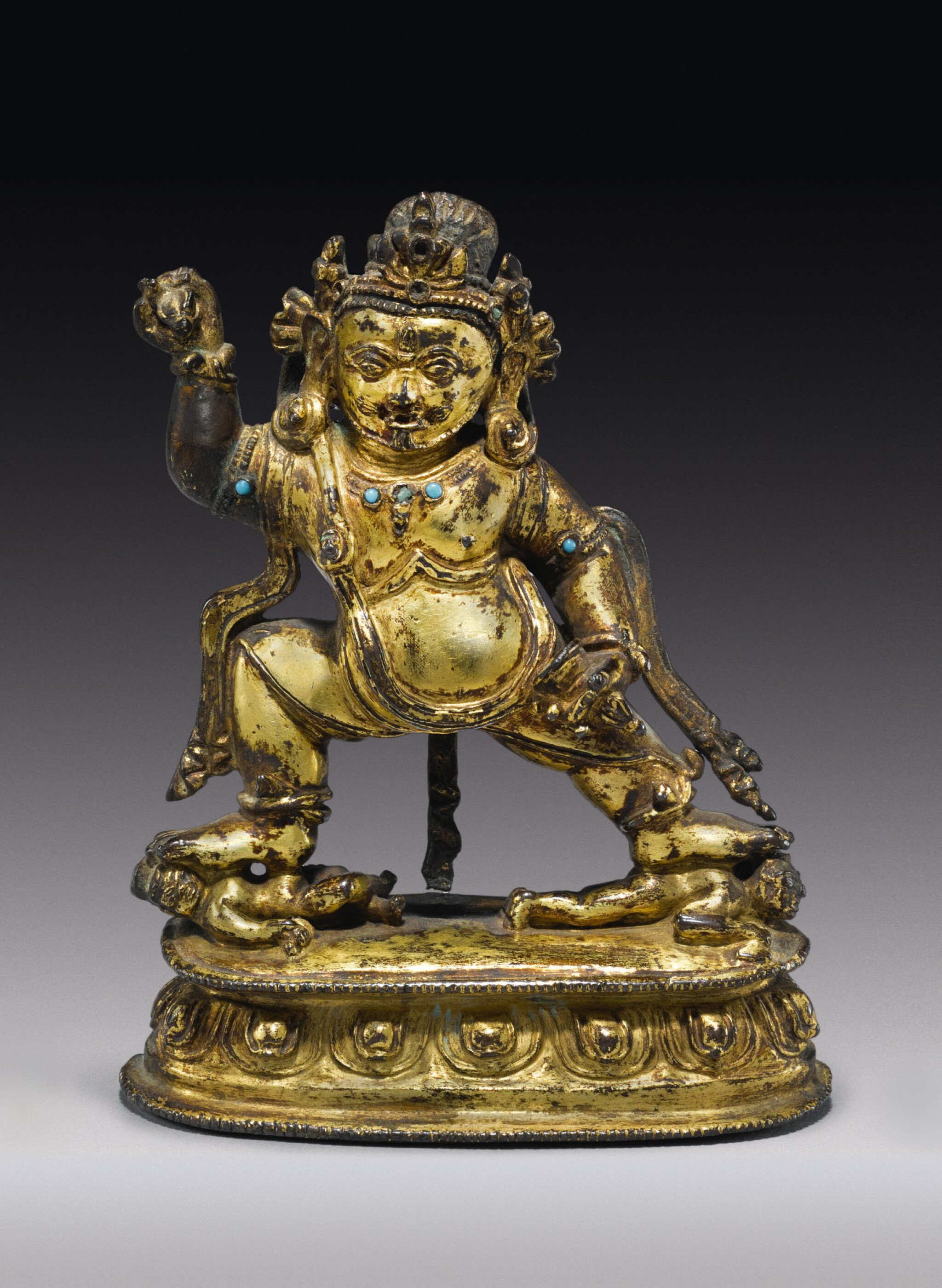 View full screen - View 1 of Lot 324. A GILT COPPER ALLOY FIGURE OF VAJRAPANI,  TIBET, 14TH CENTURY.