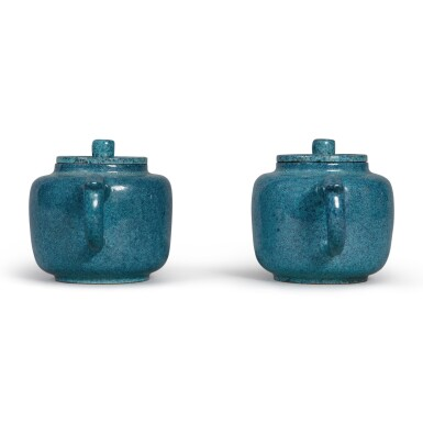 View 3. Thumbnail of Lot 29. A pair of 'robin's egg'-glazed Yixing teapots and covers, Late Qing dynasty.