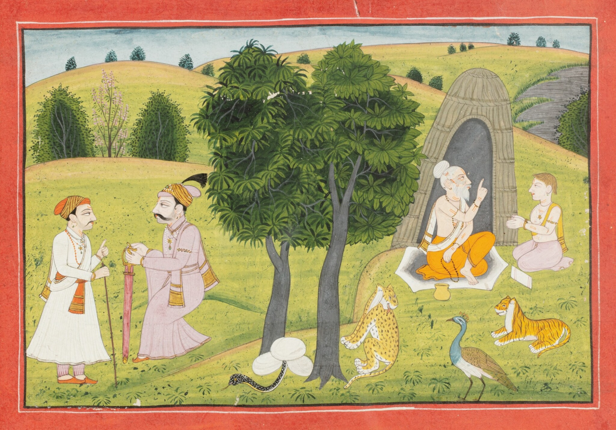 View full screen - View 1 of Lot 36. INDIA, RAJASTHAN, PAHARI, LATE 18TH CENTURY AND 19TH CENTURY | FIVE INDIAN MINIATURES .