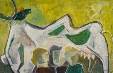 KRISHNA SHAMRAO KULKARNI | Untitled (Bull and Figures)