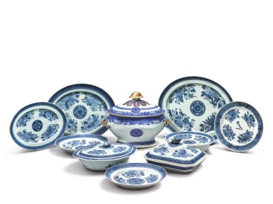 View 2. Thumbnail of Lot 278. AN ASSEMBLED GROUP OF CHINESE EXPORT BLUE 'FITZHUGH' DINNER WARES, EARLY 19TH CENTURY.