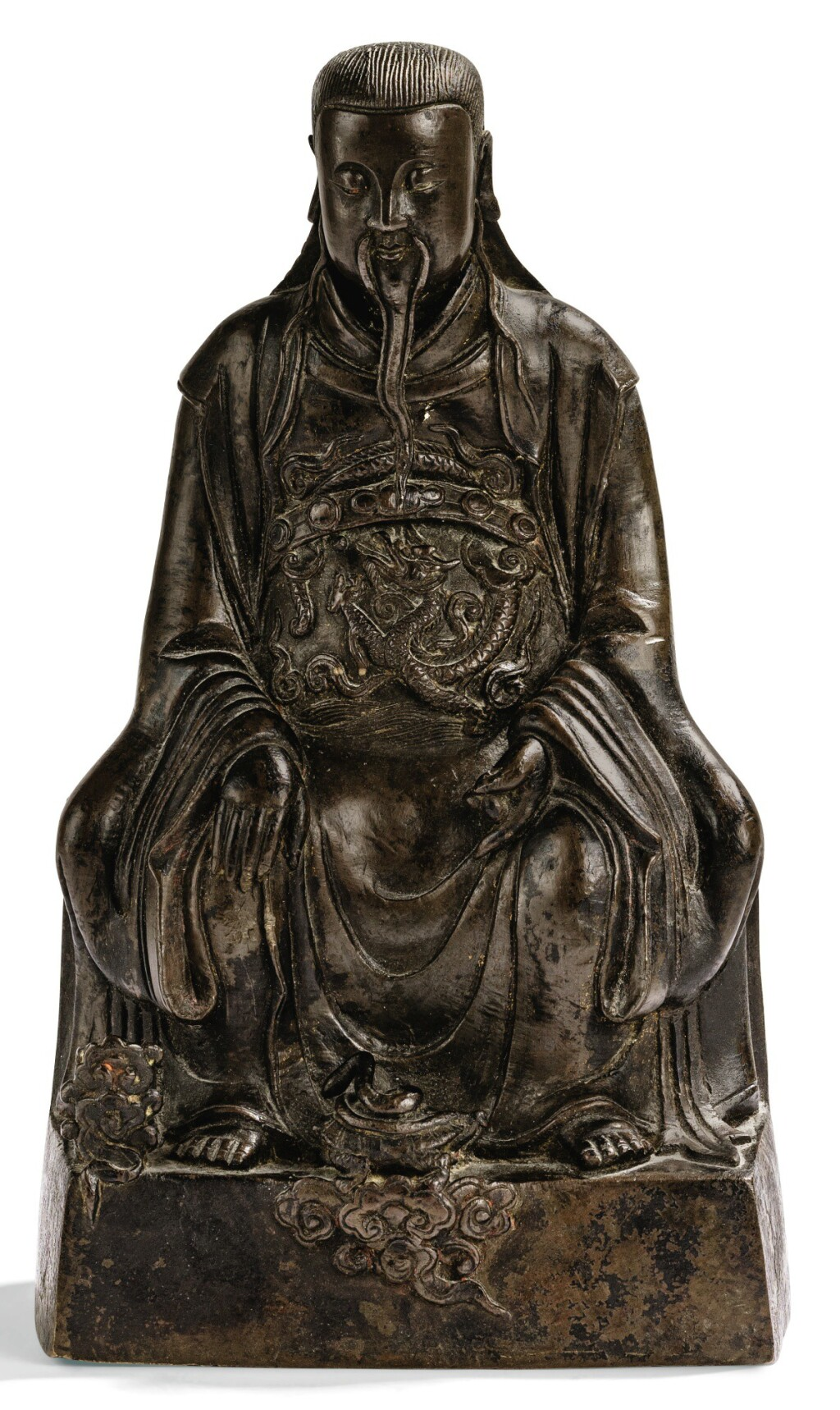 STATUETTE EN BRONZE DE XUANWU DYNASTIE QING, XVIIE-XVIIIE SIÈCLE | 清十七至十八世紀 銅鑄玄武大帝坐像 | A bronze figure of Xuanwu, Qing Dynasty, 17th/18th Century