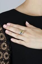 FANCY VIVID YELLOW DIAMOND AND DIAMOND RING