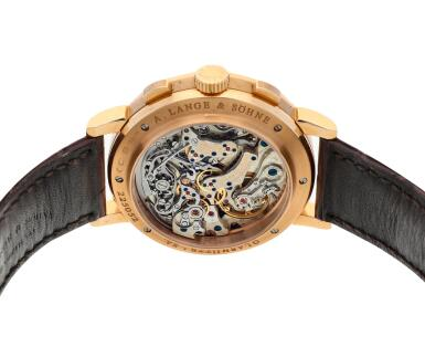 View 5. Thumbnail of Lot 292. Reference 405.031F Datograph Up/Down  A pink gold flyback chronograph wristwatch with date, Circa 2014.