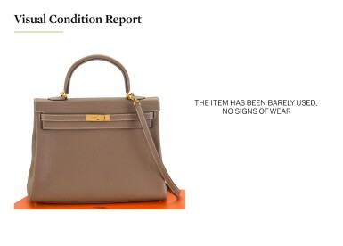View 5. Thumbnail of Lot 8. KELLY 35 RETOURNE ETOUPE COLOUR IN TOGO LEATHER WITH GOLD HARDWARE. HERMÈS, 2017 .