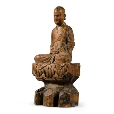View 3. Thumbnail of Lot 108. A polychrome-painted wood figure of a luohan, Ming dynasty | 明 木雕加彩羅漢坐像.