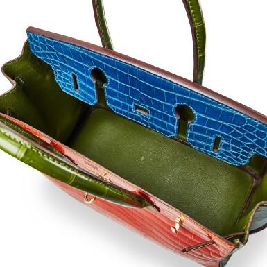 View 6. Thumbnail of Lot 8386. Vert Chartreuse, Orange and Bleu Mikonos Niloticus HSS Birkin 30, Gold Hardware, 2010   愛馬仕嫩黃綠色拼橘色及米科諾斯藍色尼羅河鱷魚皮30公分柏金包,具愛馬仕定製馬蹄印,配鍍金金屬件,2010年.