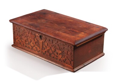 View 2. Thumbnail of Lot 59. Very Fine and Rare Pilgrim Century Red-Painted Carved Oak and Yellow Pine Document Box, attributed to John Moore I, Windsor, Connecticut, circa 1685.