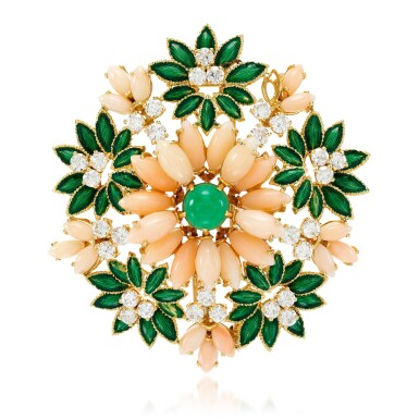 View 1. Thumbnail of Lot 47. Coral, enamel, chrysoprase and diamond brooch, 1960s.