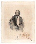 "F. Liszt. Large lithographed portrait of Liszt in 1846, with an autograph musical quotation, signed (""FL"")"