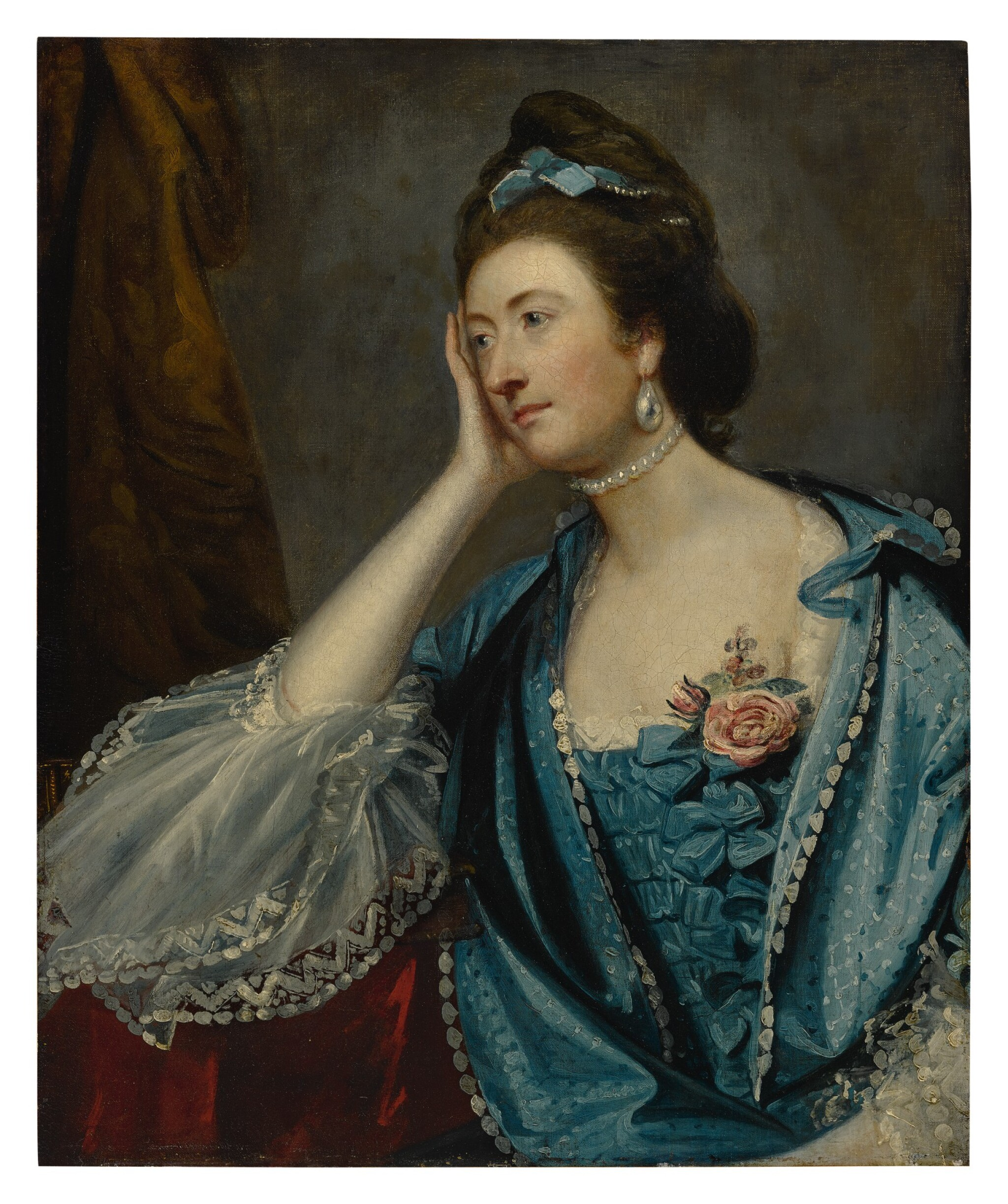 View full screen - View 1 of Lot 642. SIR JOSHUA REYNOLDS P.R.A. | PORTRAIT OF A LADY, PROBABLY MISS JANE ASHTON, HALF LENGTH, IN A BLUE DRESS WITH WHITE LACE CUFFS.