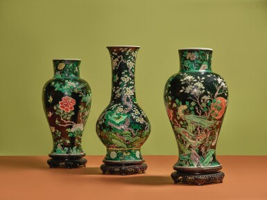 View 6. Thumbnail of Lot 1039.  A FAMILLE-NOIRE 'BIRD AND FLOWER' BALUSTER JAR,  QING DYNASTY, 19TH CENTURY.