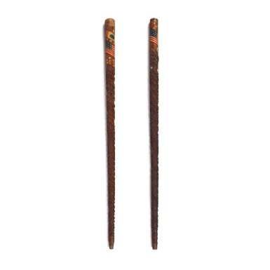 TWO VERY FINE PATRIOTIC CARVED AND POLYCHROME PAINT DECORATED WALKING STICKS, EARLY 20TH CENTURY