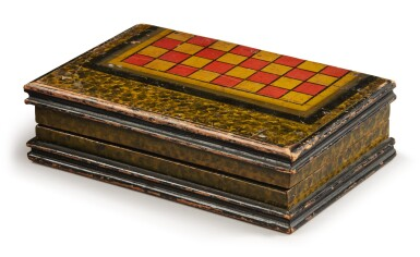 View 2. Thumbnail of Lot 1448. AMERICAN POLYCHROME PAINT-DECORATED WOODEN GAMEBOARD BOX, LATE 19TH TO EARLY 20TH CENTURY.