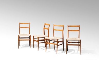 View 3. Thumbnail of Lot 2. Four Superleggera chairs, model no. 699, designed in 1957     .