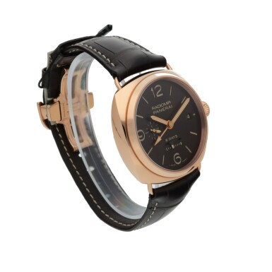 View 3. Thumbnail of Lot 46. PANERAI | RADIOMIR 8 DAYS GMT ORO ROSSO, REF PAM00395 LIMITED EDITION PINK GOLD DUAL TIME WRISTWATCH WITH DATE, 24-HOUR AND 8-DAY POWER RESERVE INDICATION CIRCA 2018.