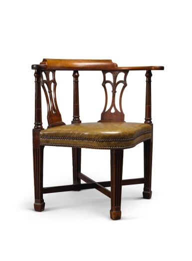 View 1. Thumbnail of Lot 49. A GEORGE III MAHOGANY CORNER ARMCHAIR, LATE 18TH CENTURY.