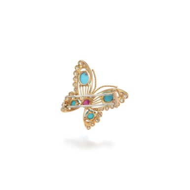 View 3. Thumbnail of Lot 16. Turquoise, ruby and diamond brooch.