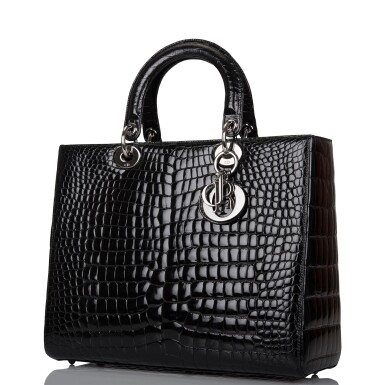 View 4. Thumbnail of Lot 105. CHRISTIAN DIOR    BLACK SHINY NILOTICUS CROCODILE LARGE LADY DIOR BAG WITH RUTHENIUM HARDWARE.
