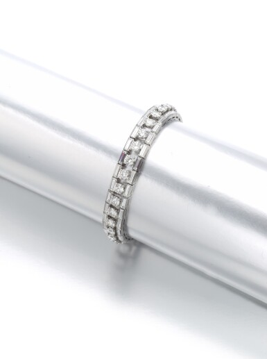 View 2. Thumbnail of Lot 1225. Diamond bracelet.
