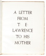 LAWRENCE, T.E. | A Letter...to his Mother, Corvinus Press, 1936, no.23/24 copies