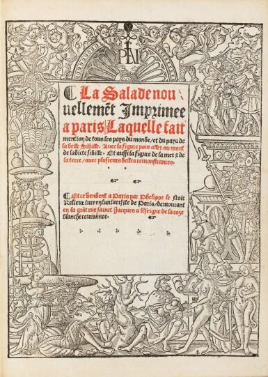 View 3. Thumbnail of Lot 196. LA SALE. La Salade... de tous les pays du monde. Philippe le Noir, 1527. Petit in-folio. Rare seconde édition.