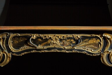 View 7. Thumbnail of Lot 12. A LOUIS XV STYLE GILT-BRONZE MOUNTED JAPANESE BLACK LACQUER AND VERNIS MARTIN BUREAU PLAT, AFTER A MODEL BY JACQUES DUBOIS, LATE 19TH CENTURY.