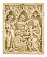 MOSAN OR GERMAN, LOWER RHINE, MID-14TH CENTURY   Diptych Leaf with the Adoration of the Magi