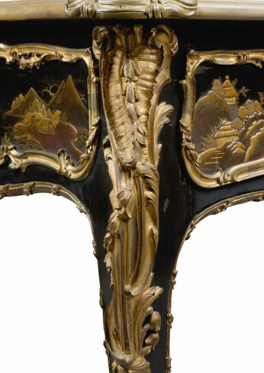 View 10. Thumbnail of Lot 12. A LOUIS XV STYLE GILT-BRONZE MOUNTED JAPANESE BLACK LACQUER AND VERNIS MARTIN BUREAU PLAT, AFTER A MODEL BY JACQUES DUBOIS, LATE 19TH CENTURY.