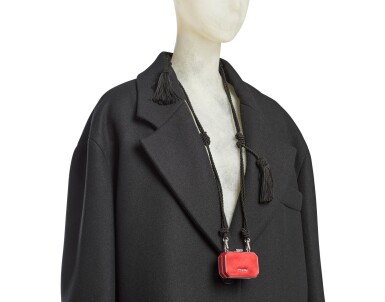 View 5. Thumbnail of Lot 8. PRADA | WOOL BEADED FRINGE COAT AND VANITY NECKLACE,   WORN BY THERESA HAYES.
