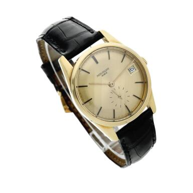 View 3. Thumbnail of Lot 251. Reference 3558  A yellow gold automatic wristwatch with date, Made in 1968.