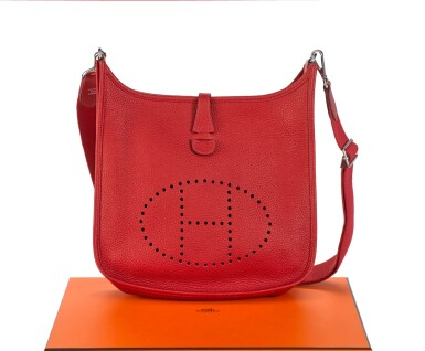 EVELYNE III 29 ROUGE CASAQUE COLOUR IN CLEMENCE LEATHER WITH PALLADIUM HARDWARE. HERMÈS, 2013