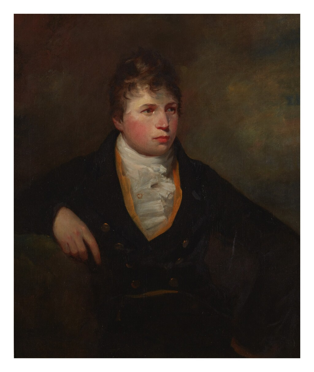 SIR DAVID WILKIE, R.A.   PORTRAIT OF ALEXANDER AITKEN, HALF LENGTH, WEARING A DARK COAT WITH A BUFF WAISTCOAT AND A WHITE STOCK