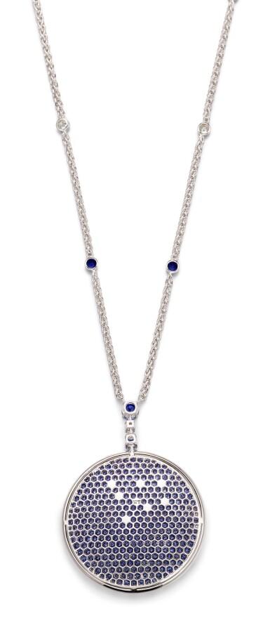 View 3. Thumbnail of Lot 1035. 'Wave' Sapphire and Diamond Pendent Necklace | 格拉夫| 'Wave' 藍寶石 配 鑽石 項鏈 (藍寶石及鑽石共重約11.30及11.90克拉).