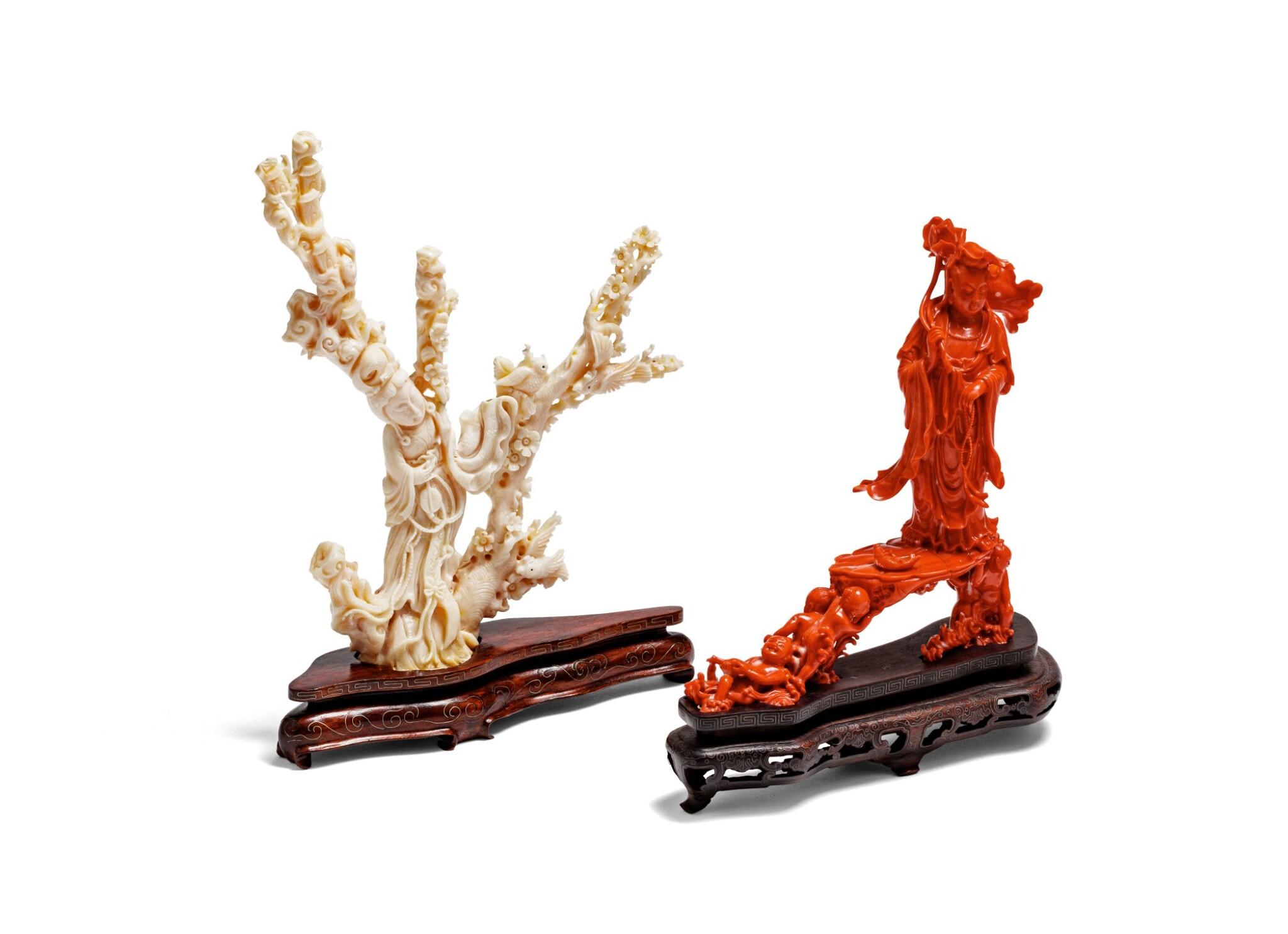 View 1 of Lot 219. Deux groupes en corail sculpté Début du XXE siècle | 二十世紀初 紅珊瑚雕持蓮觀音立像及白珊瑚雕仕女立像 | Two carved coral figural groups, early 20th century.