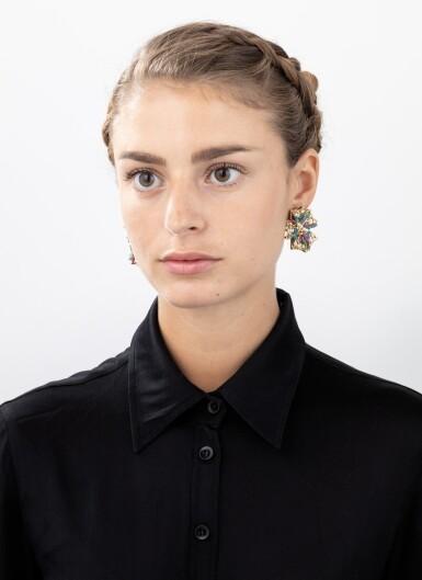 View 4. Thumbnail of Lot 69. Giodoro, Pair of gem-set, cultured pearl and diamond ear clips [Paire de clips d'oreille pierres de couleur, perles de culture et diamants].