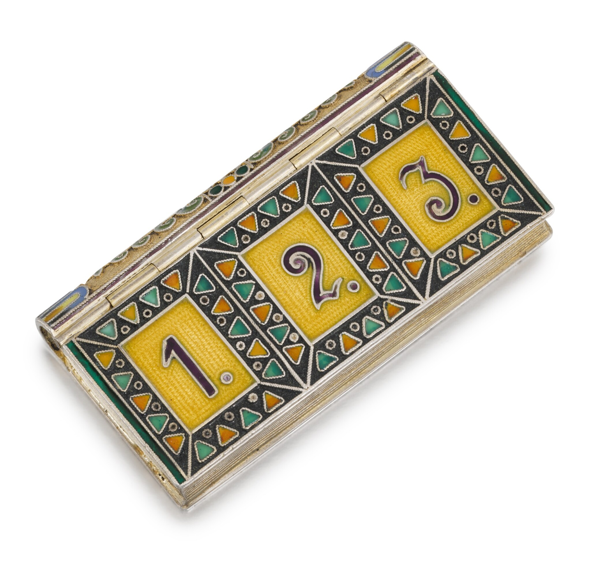View full screen - View 1 of Lot 239. A silver and cloisonné enamel stamp box, 11th Artel, Moscow, 1908-1917.