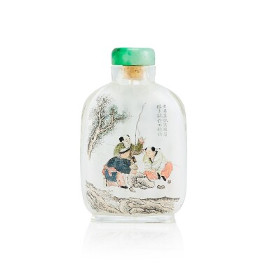 View full screen - View 1 of Lot 3063. An Inside-Painted Glass 'Boys with Fishing Rod' Snuff Bottle By Ma Shaoxuan, Dated Wuxu Year, Corresponding to 1898 | 戊戌(1898年) 馬少宣作玻璃內畫詩意圖鼻煙壺 《馬少宣》款 「少宣」印.