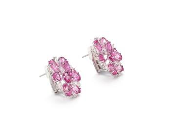 View 2. Thumbnail of Lot 1700. Pair of Pink Sapphire and Diamond Earrings | 格拉夫 | 粉紅剛玉 配 鑽石 耳環一對.