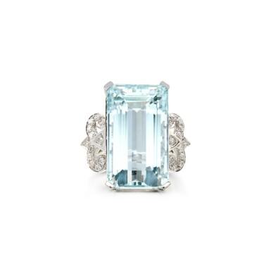 View 1. Thumbnail of Lot 17. AQUAMARINE AND DIAMOND RING.
