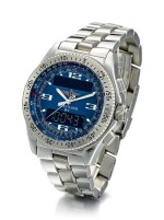 BREITLING | PROFESSIONAL SERIES B-1, REFERENCE A68362, A STAINLESS STEEL CALENDER CHRONOGRAPH WRISTWATCH WITH BRACELET, ALARM AND DUAL TIME ZONE, CIRCA 2003