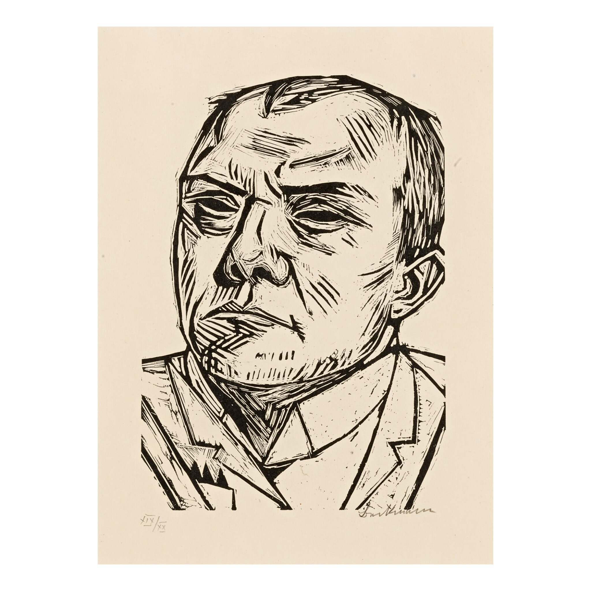 View full screen - View 1 of Lot 78. MAX BECKMANN | SELBSTBILDNIS (H. 226).