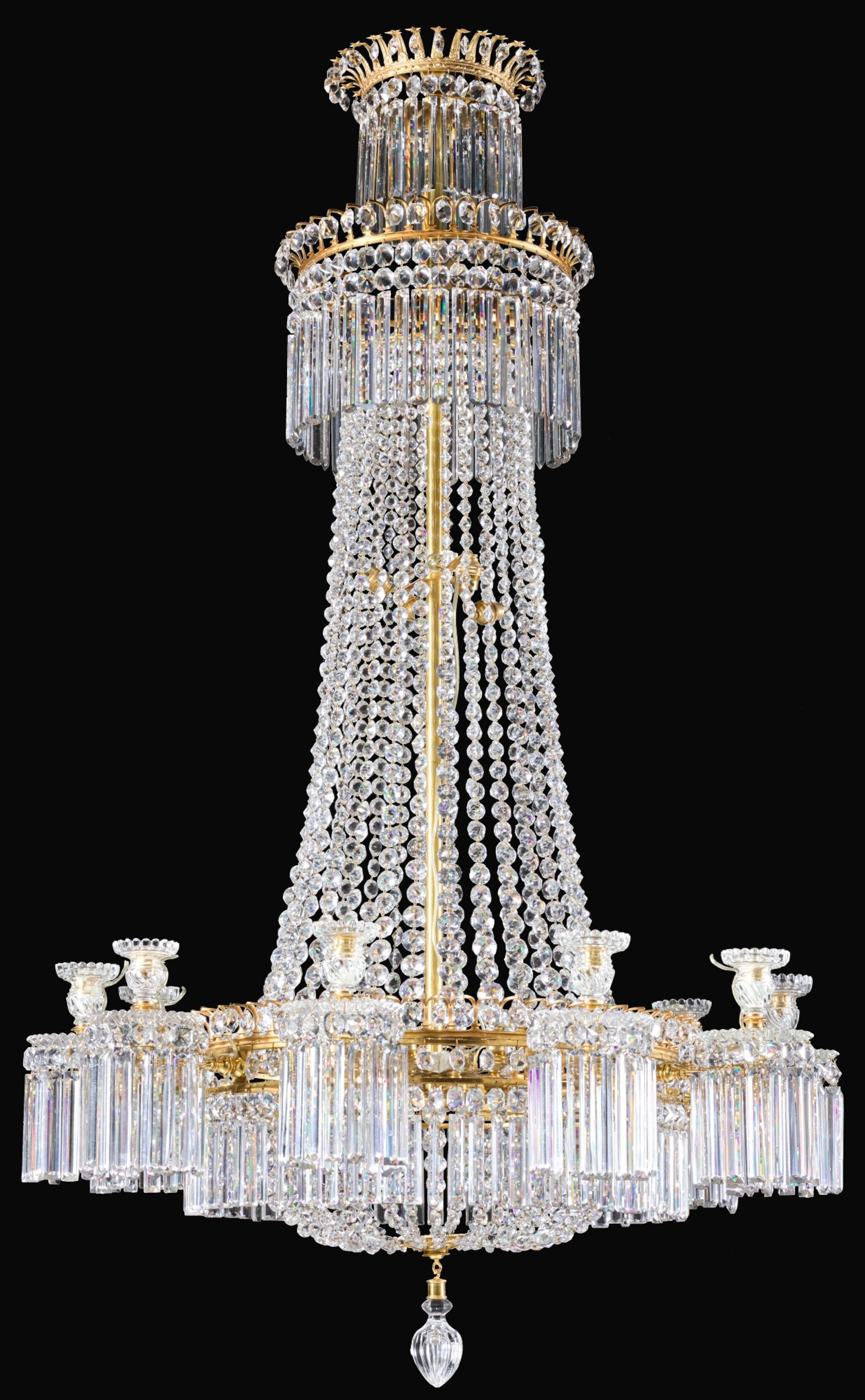 View full screen - View 1 of Lot 22. A REGENCY GILT-BRONZE AND CUT-GLASS TEN-LIGHT CHANDELIER, CIRCA 1810, ATTRIBUTED TO JOHN BLADES.