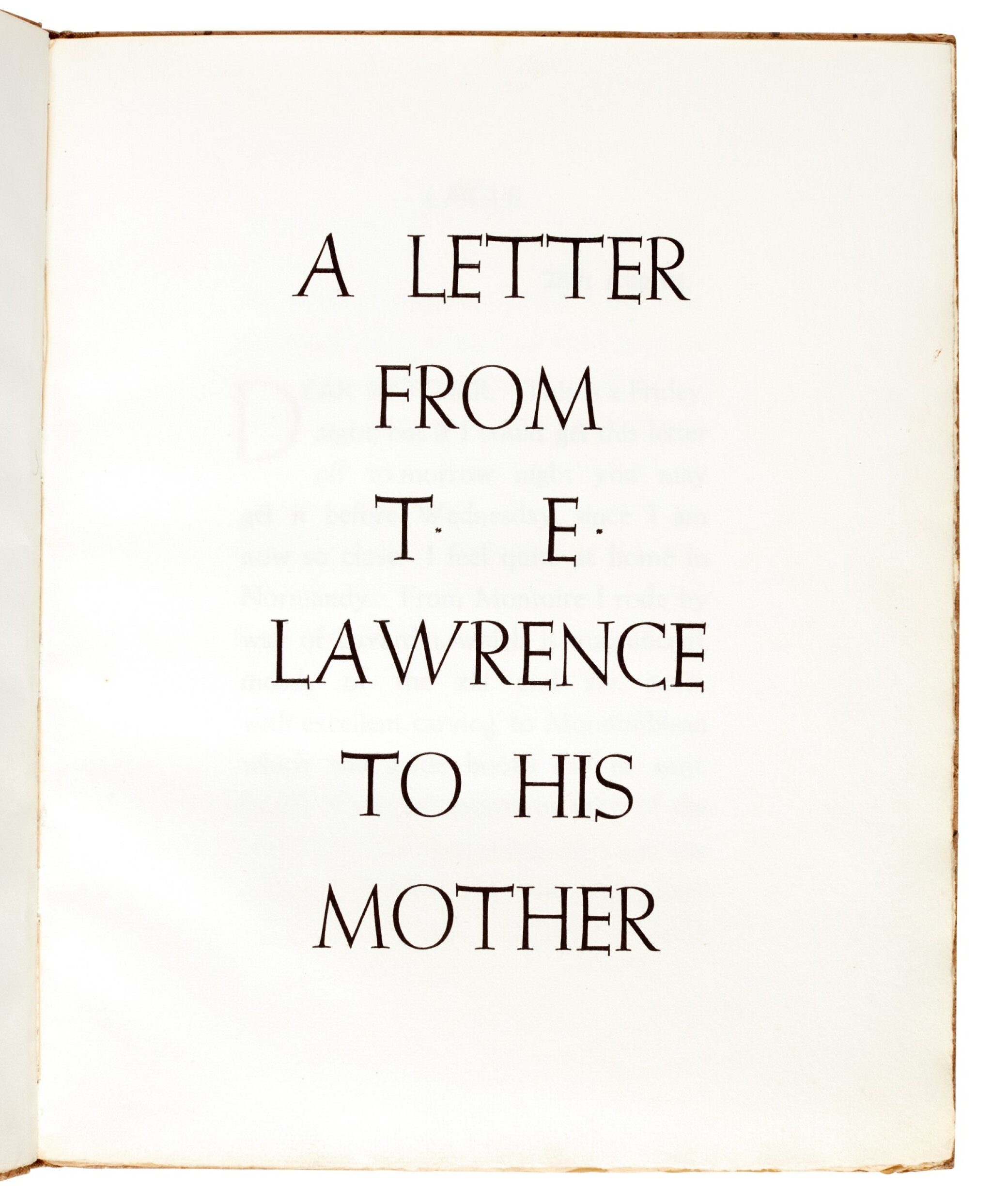 View full screen - View 1 of Lot 121.  LAWRENCE, T.E. | A Letter...to his Mother, Corvinus Press, 1936, no.23/24 copies.