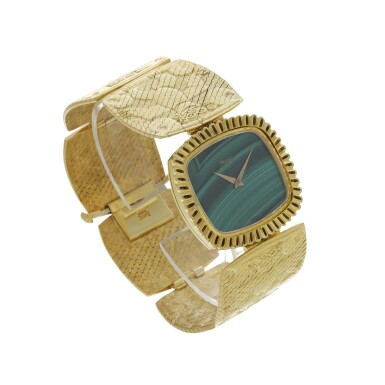 View 3. Thumbnail of Lot 66. PIAGET | REFERENCE 9431 B72 A YELLOW GOLD CUSHION SHAPED BRACELET WATCH WITH MALACHITE DIAL, CIRCA 1971.