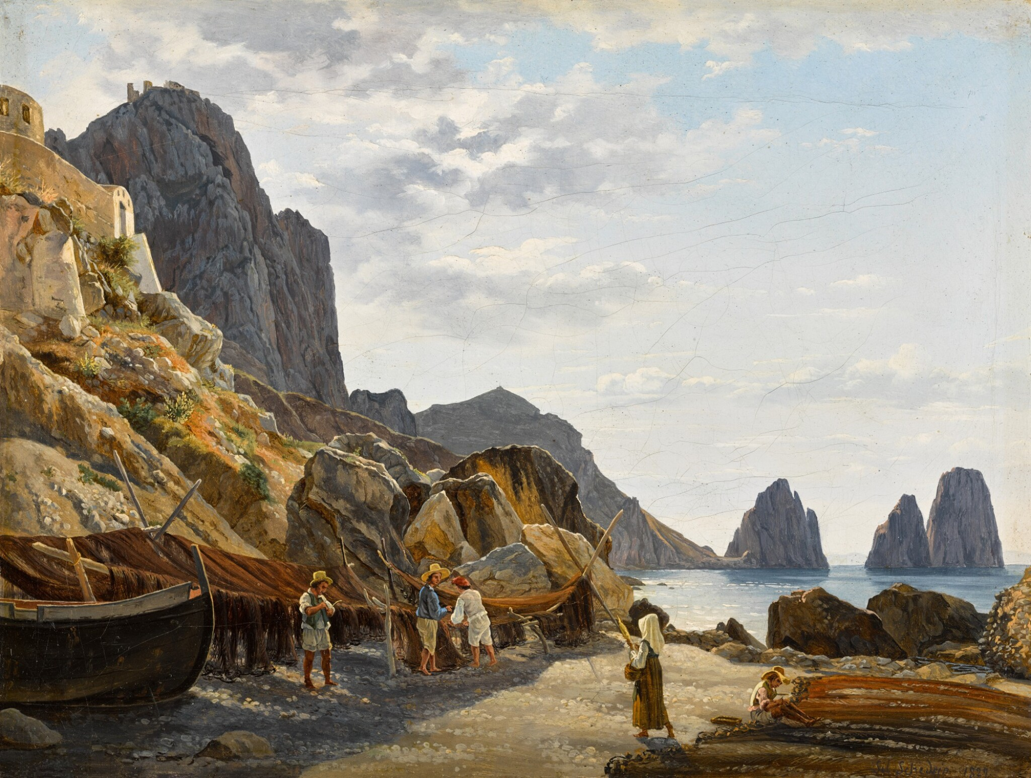 View full screen - View 1 of Lot 2. Fishermen on Capri with the Faraglioni in the Background.