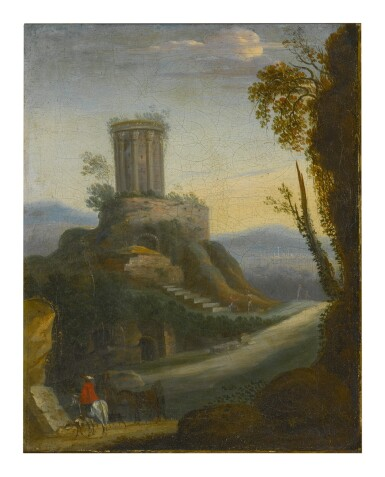 View 1. Thumbnail of Lot 92. Sold Without Reserve   FOLLOWER OF HERMAN VAN SWANEVELT, 18TH CENTURY   LANDSCAPE WITH HORSEMAN AND CLASSICAL RUINS BEYOND.