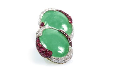 Pair of jadeite, ruby and diamond ear clips,Michele della Valle