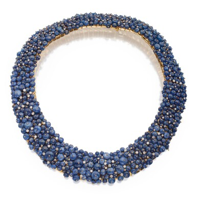 View 2. Thumbnail of Lot 301. Tony Duquette | Sapphire and Diamond Necklace .